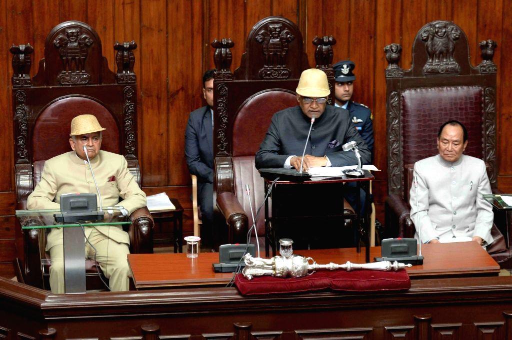 President Ram Nath Kovind addresses at a special session of the Mizoram Legislative Assembly in Aizawl on Nov 30, 2017. Also seen Mizoram Assembly Speaker Hiphei. - Hiphei and Nath Kovind