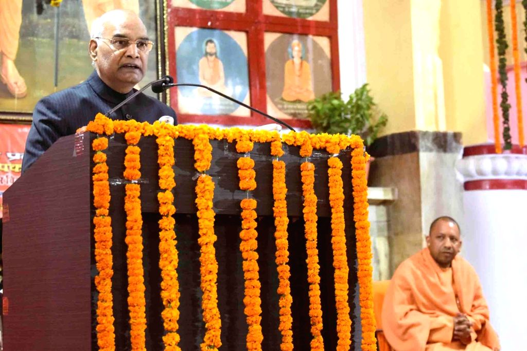 President Ram Nath Kovind addresses at the Founder's Week Celebration of Maharana Pratap Shiksha Parishad in Gorakhpur, Uttar Pradesh on Dec 10, 2018. - Nath Kovind
