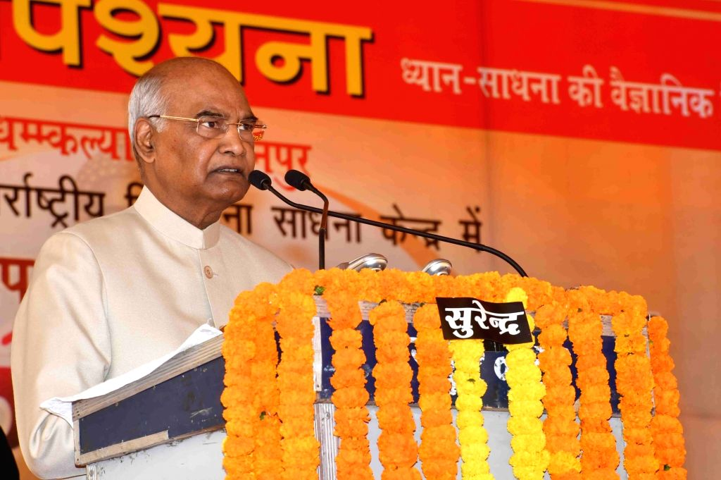 President Ram Nath Kovind addresses at the inauguration of the new block of Dhamma Kalyana Kanpur International Vipassana Meditation Centre, in Kanpur, Uttar Pradesh, on Feb 25, 2019. - Nath Kovind