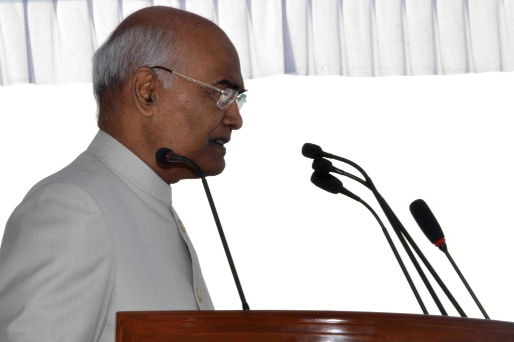 President Ram Nath Kovind addresses at the presentation of President's Colours to Hakimpet Air Force Station and Indian Air Force (IAF) 5 Base Repair Depot (BRD) at Air Force Station, in ... - Nath Kovind