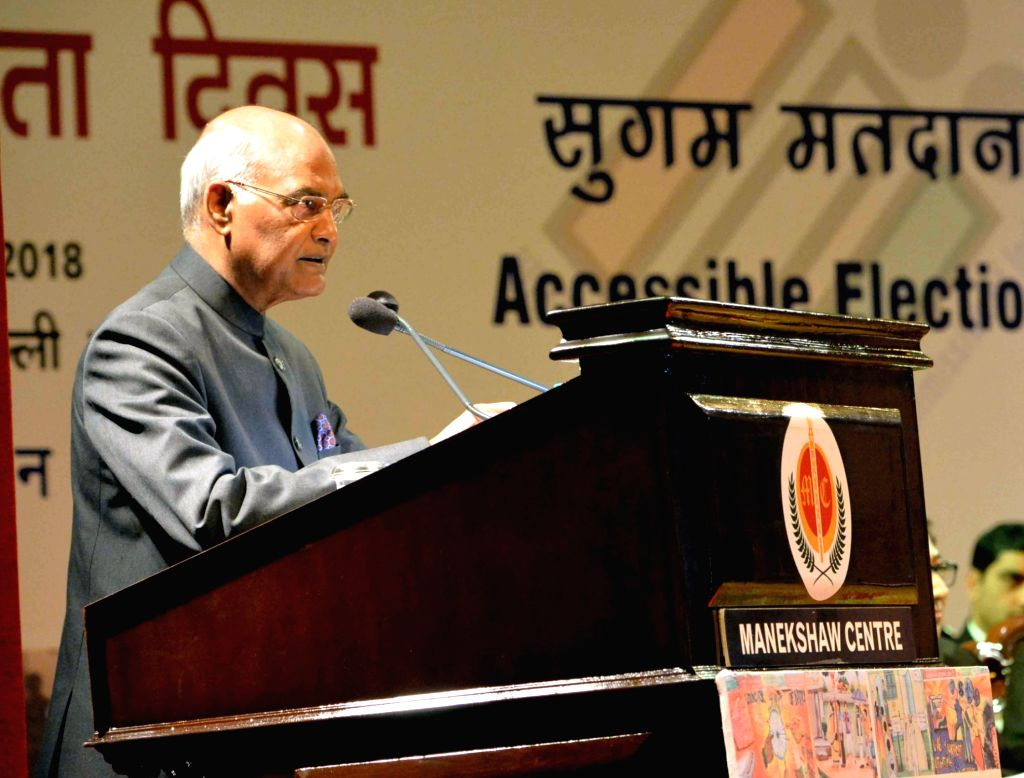 President Ram Nath Kovind addresses at the 8th National Voters' Day programme in New Delhi on Jan 25, 2018. - Nath Kovind