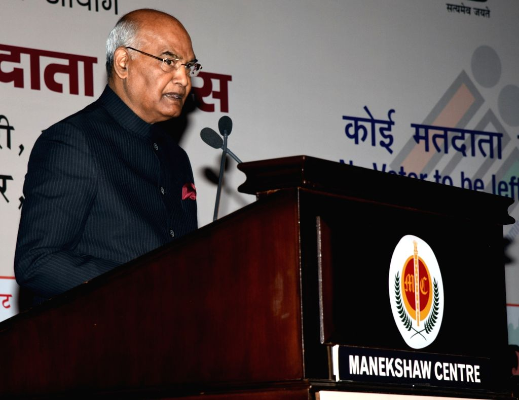 President Ram Nath Kovind addresses at the 9th National Voters' Day programme, in New Delhi on January 25, 2019. - Nath Kovind
