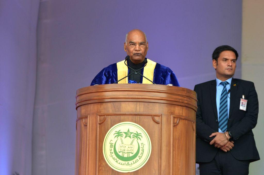 President Ram Nath Kovind addresses at the Annual Convocation of Jamia Millia Islamia (JMI) in New Delhi on Oct 30, 2019. - Nath Kovind