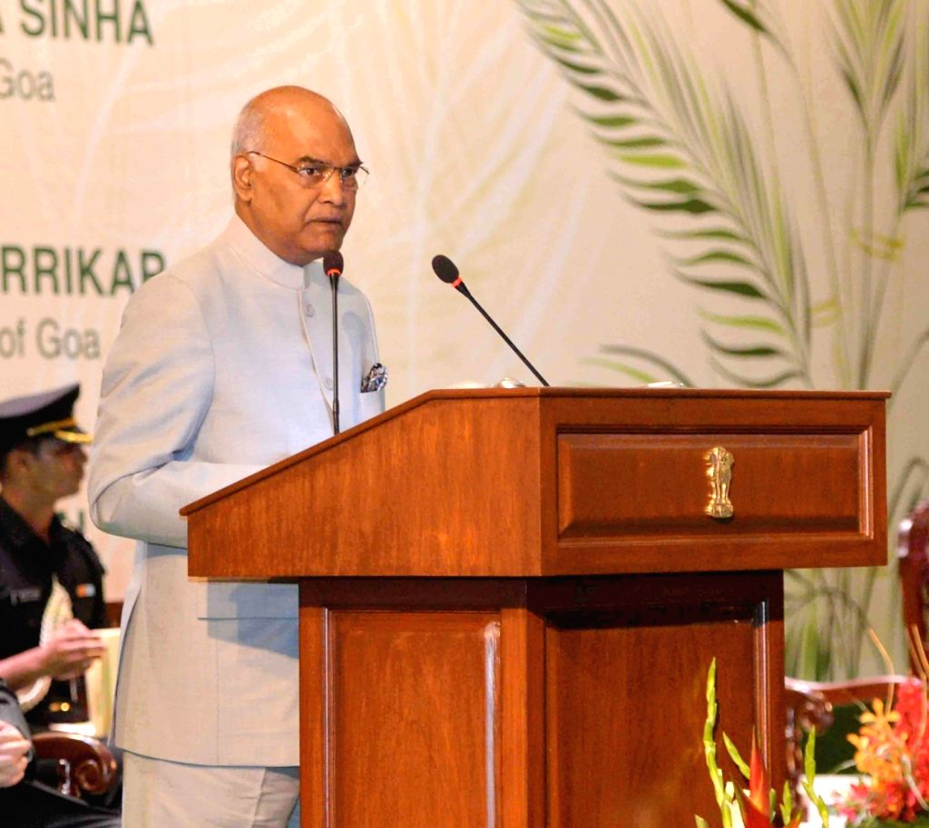 President Ram Nath Kovind addresses at the Civic Reception hosted for him by the state government, in Goa on July 7, 2018. - Nath Kovind
