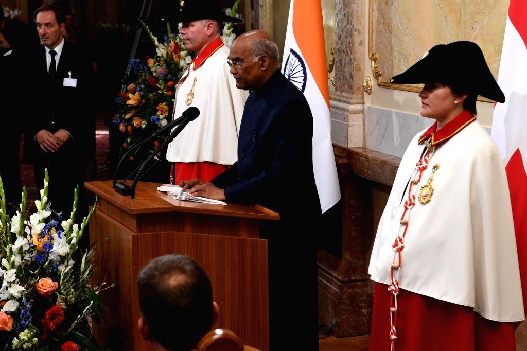 President Ram Nath Kovind addresses at the House of Parliament in Bern, Switzerland on Sep 13, 2019. - Nath Kovind