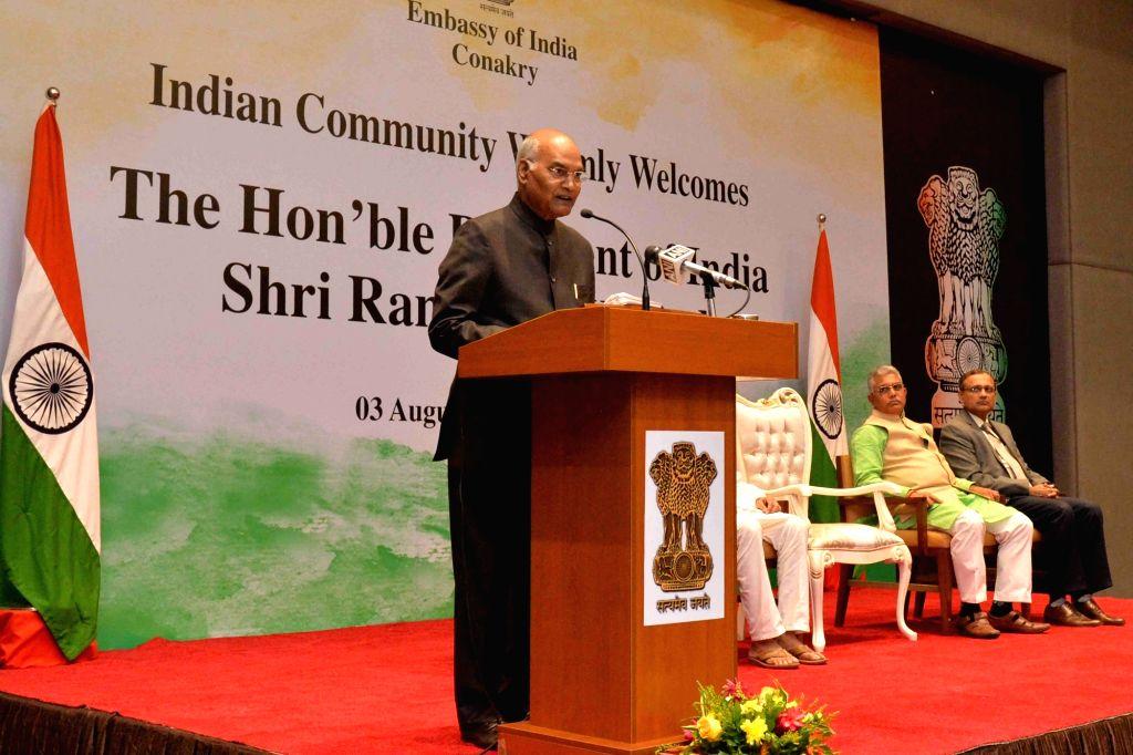 President Ram Nath Kovind addresses at the Indian Community Reception in Conakry, Guinea on Aug 3, 2019. - Nath Kovind