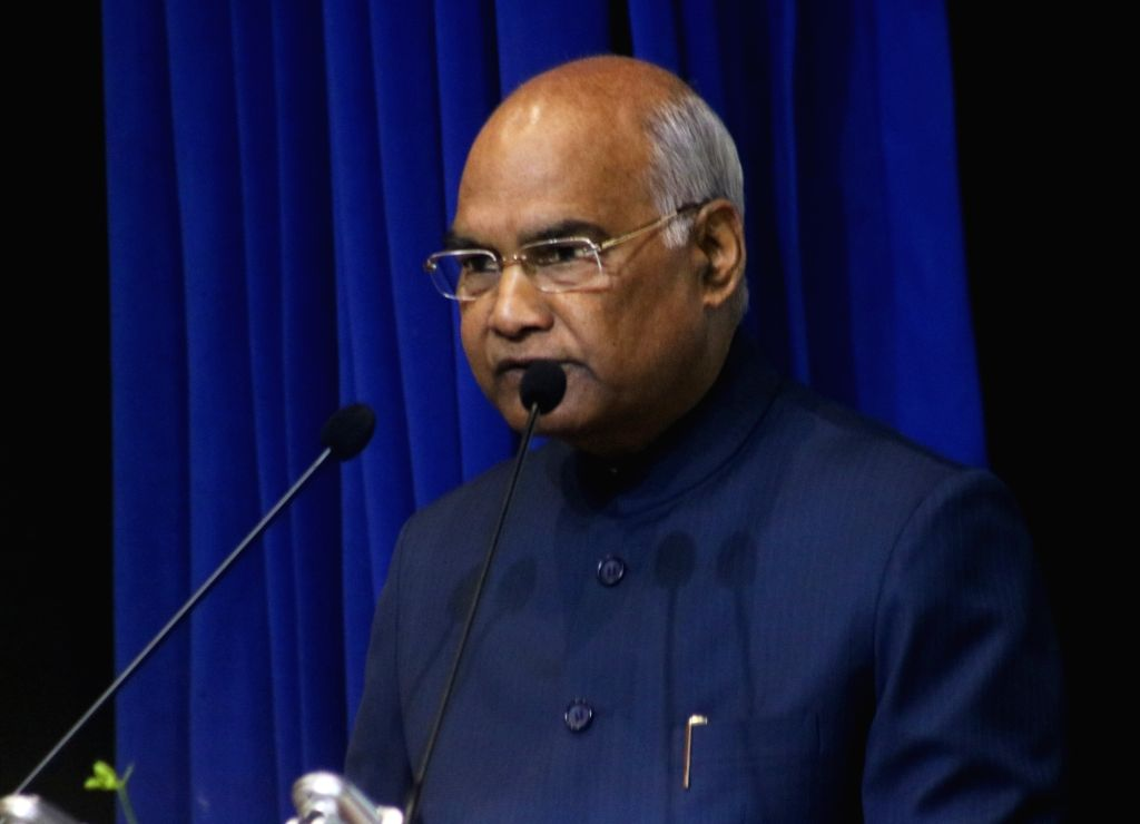 "President Ram Nath Kovind addresses at the launch of the book ""Law, Justice and Judicial Power: Justice P.N. Bhagwati's Approach"" in New Delhi, on Feb 8, 2019. - Nath Kovind"