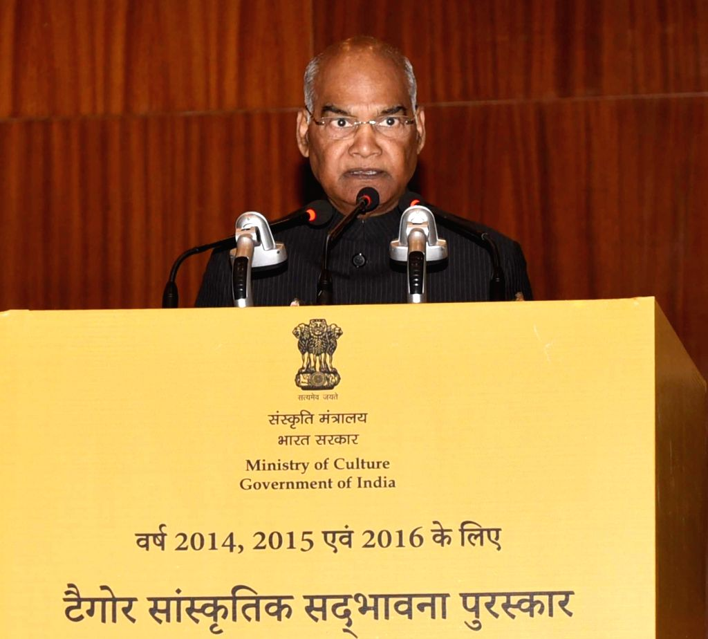 President Ram Nath Kovind addresses at the Tagore Award for Cultural Harmony for the years 2014, 2015 and 2016; in New Delhi, on Feb 18, 2019. - Nath Kovind