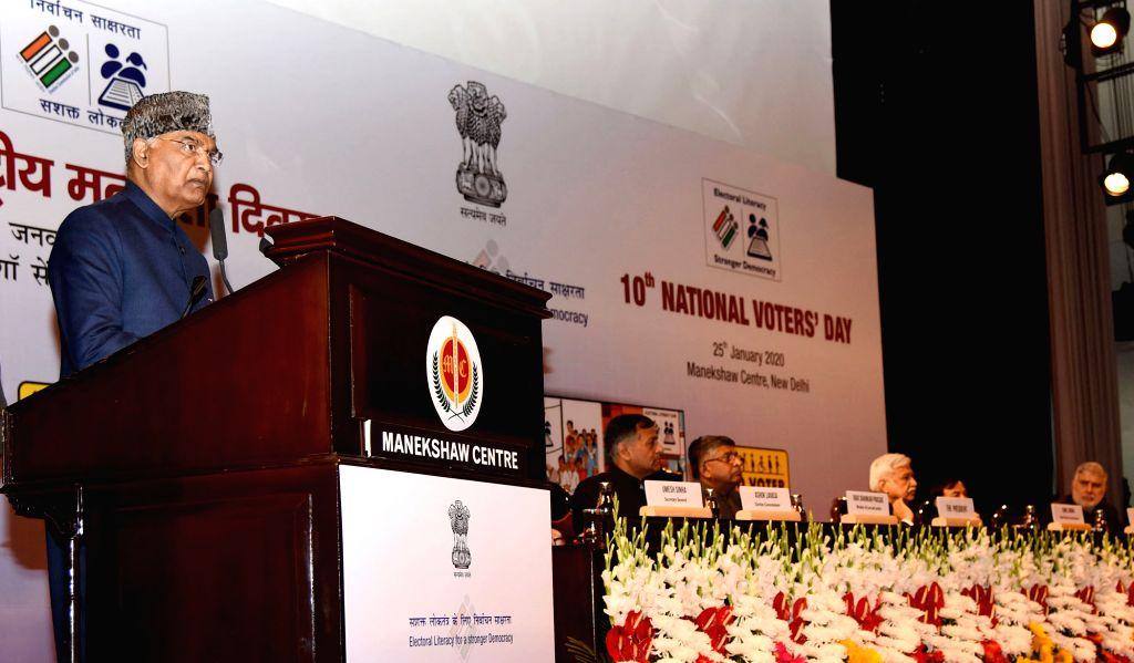 President Ram Nath Kovind addresses during 10th National Voters' Day (NVD) celebrations, in New Delhi on Jan 25, 2020. - Nath Kovind