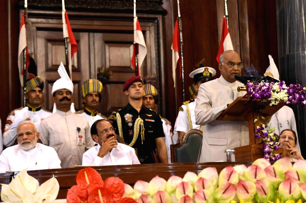 President Ram Nath Kovind addresses during Outstanding Parliamentarian Award ceremony at Central Hall of Parliament in New Delhi on Aug 1, 2018. - Nath Kovind