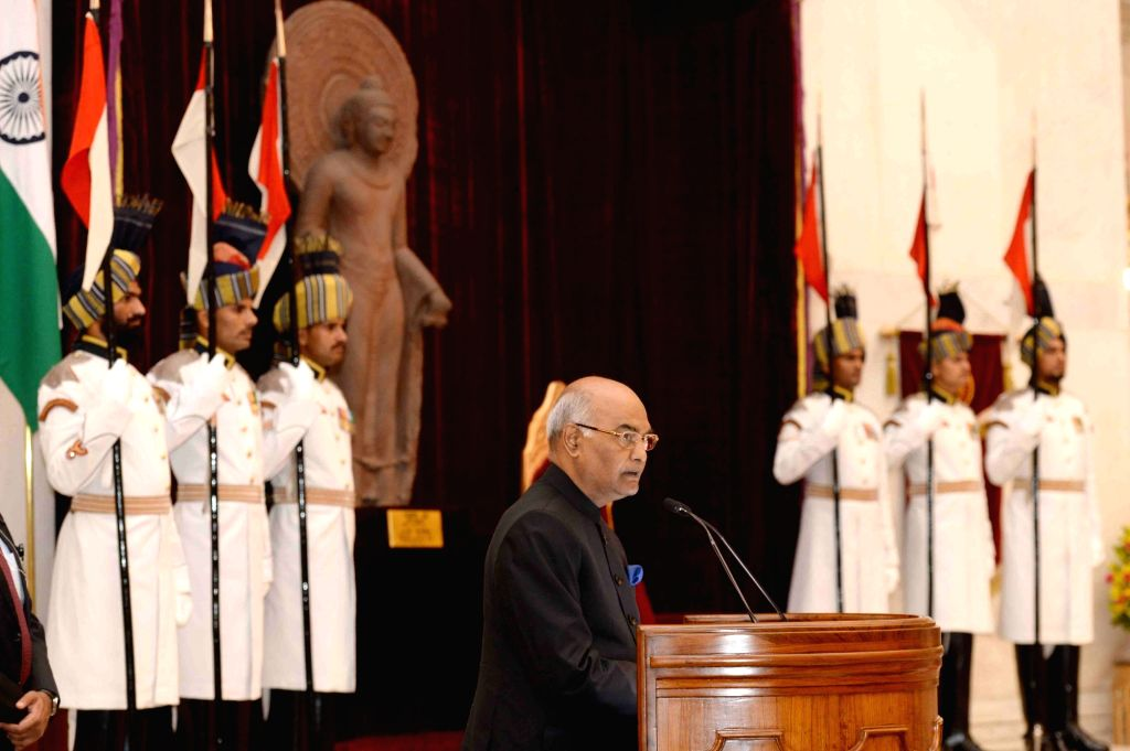 President Ram Nath Kovind addresses during a programme organised on Teacher's Day at Rashtrapati Bhavan, in New Delhi on Sept 5, 2017. - Nath Kovind