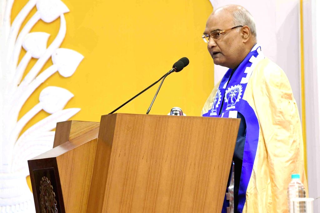 President Ram Nath Kovind addresses during a programme at IIT Kharagpur, in West Bengal, on July 20, 2018. - Nath Kovind