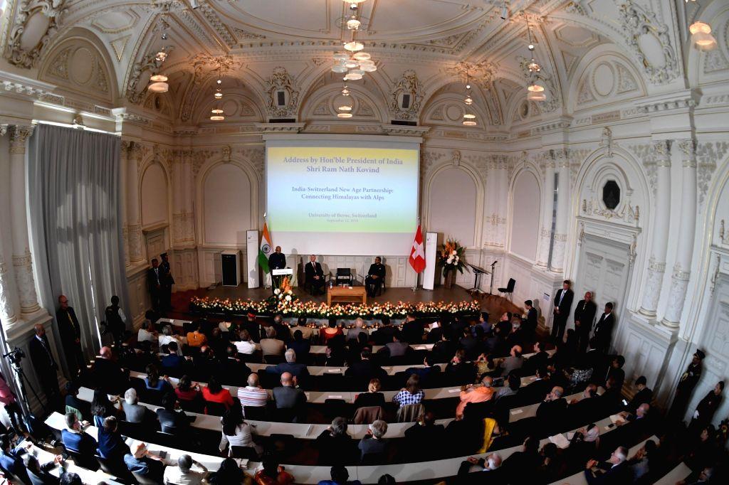 President Ram Nath Kovind addresses during a programme at University of Bern in Switzerland on Sep 13, 2019. - Nath Kovind