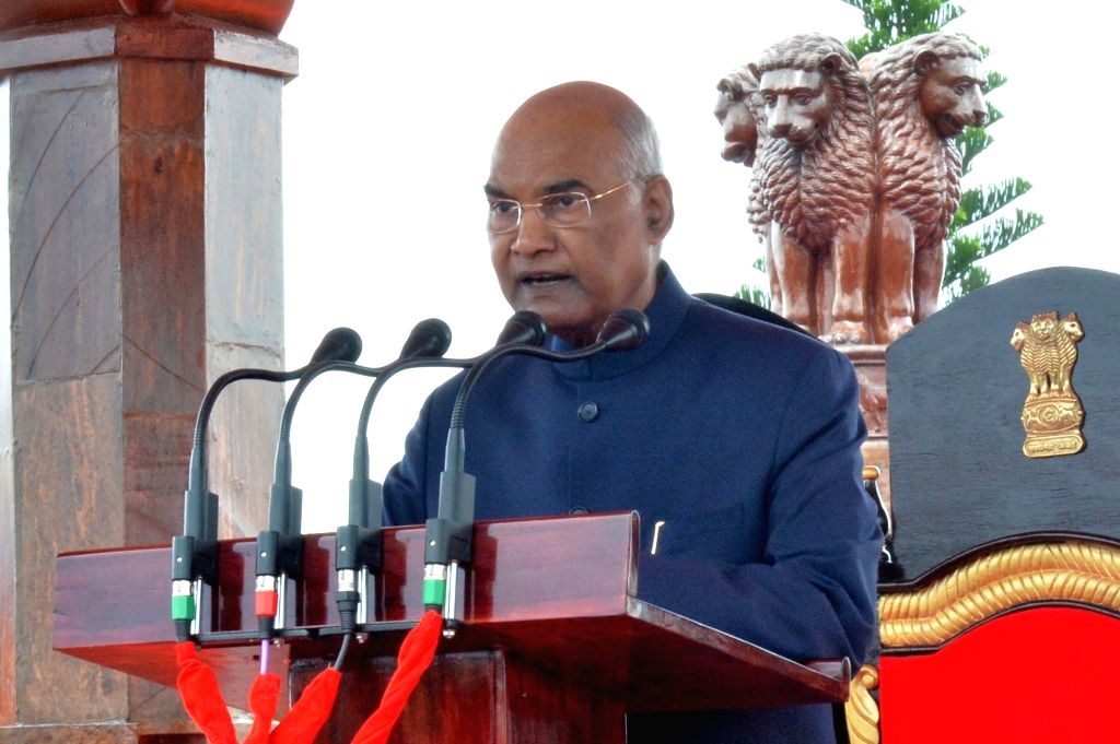 President Ram Nath Kovind addresses during a ceremony where he awarded President???s Colours to the Corps of Army Air Defence on completion of 25 yrs as an independent arm, at Gopalpur ... - Nath Kovind