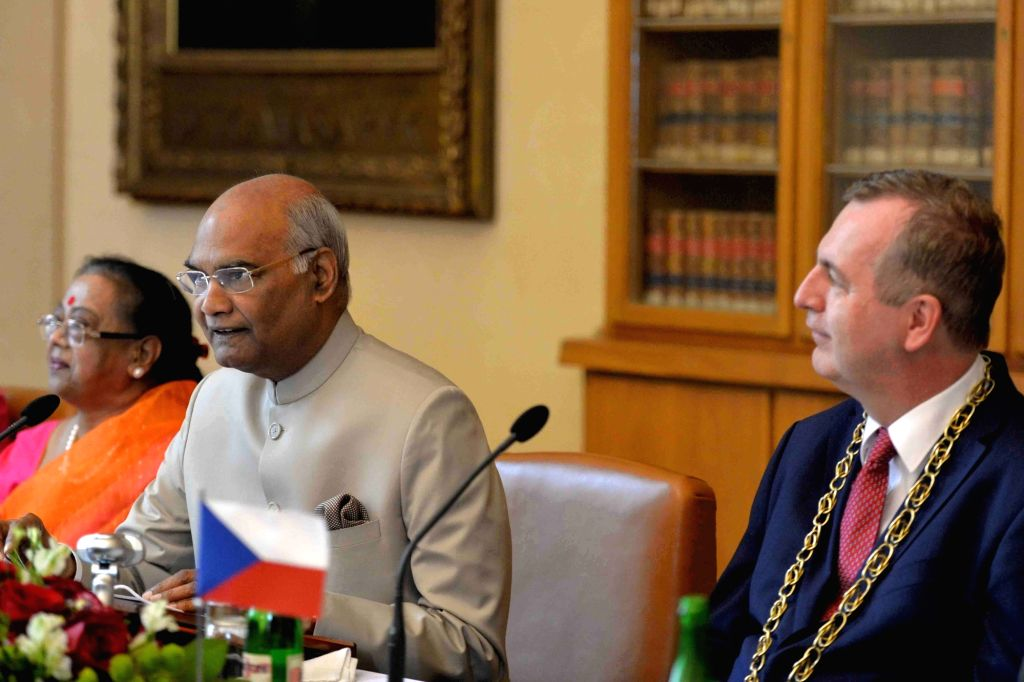 President Ram Nath Kovind addresses during round-table discussion of Indologists at the University of Charles, in Prague on Sept 8, 2018. - Nath Kovind