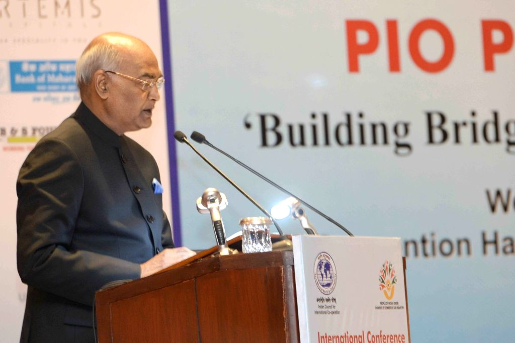President Ram Nath Kovind addresses during the First PIO Parliamentarian conference, in New Delhi on Jan 10, 2018. - Nath Kovind
