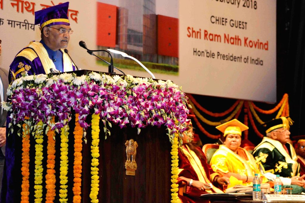 President Ram Nath Kovind addresses during the 1st Convocation of National Institute of Food Technology Entrepreneurship and Management (NIFTEM) in Haryana's Sonipat District on Feb 10, 2018. - Nath Kovind