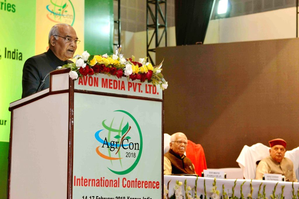 "President Ram Nath Kovind addresses during the inauguration of International Conference ""Agricon 2018"" and ""Agriexpo 2018"", at Chandra Shekhar Azad University of ... - Nath Kovind"