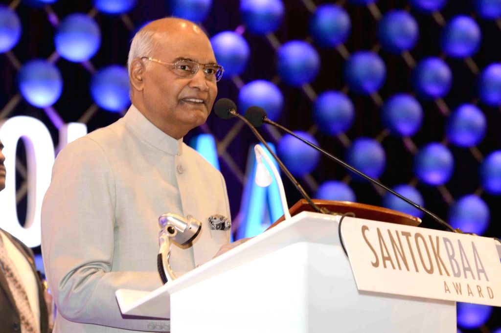 President Ram Nath Kovind addresses during the presentation of  'Santokbaa Humanitarian Award', in Surat on May 29, 2018. - Nath Kovind