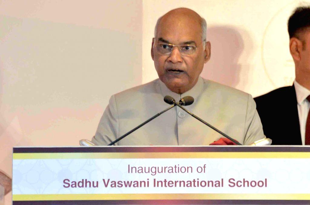 President Ram Nath Kovind addresses during the inauguration of Sadhu Vaswani International School, in Pune on May 30, 2018. - Nath Kovind