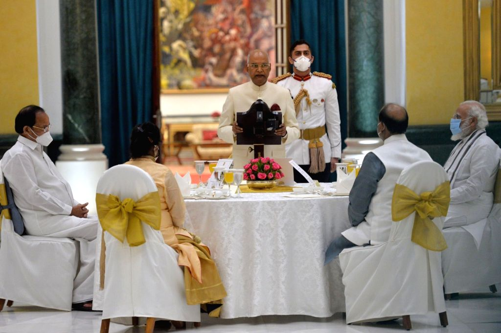 President Ram Nath Kovind addresses during the 'At Home' reception hosted by him on the 74th Independence Day, at Rashtrapati Bhavan in New Delhi on Aug 15, 2020. Also seen First Lady ... - Narendra Modi, M. Venkaiah Naidu and Nath Kovind