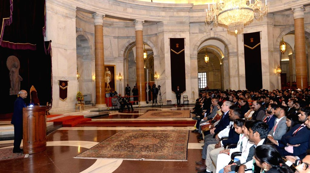President Ram Nath Kovind addresses participants of the National Youth Fest-2018 organised by the Indian Red Cross Society at Rashtrapati Bhavan in New Delhi on Feb 13, 2018. - Nath Kovind