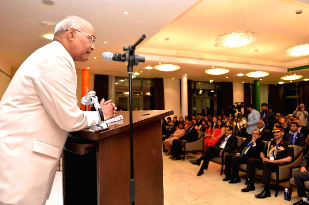 President Ram Nath Kovind addresses the Indian community in Equatorial Guinea during a programme organised to welcome him, at a hotel in Malabo, Equatorial Guinea on April 8, 2018. - Nath Kovind