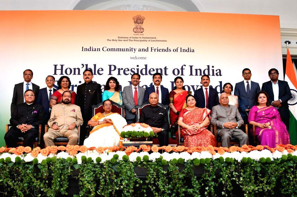 President Ram Nath Kovind addresses the Indian Community in Bern, Switzerland on Sep 12, 2019. - Nath Kovind