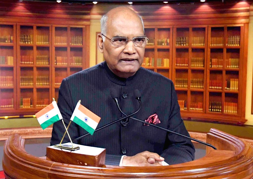 President Ram Nath Kovind addresses the nation on the eve of the 69th Republic Day, in New Delhi on Jan 25, 2018. - Nath Kovind