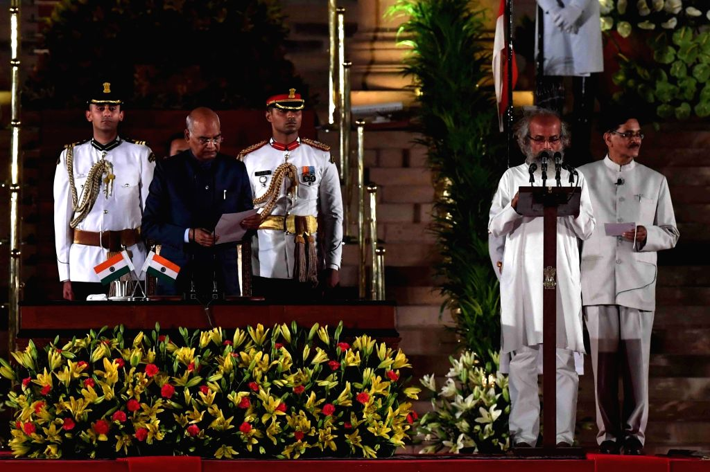 President Ram Nath Kovind administers the oath of office to Balasore BJP MP Pratap Chandra Sarangi as Union Minister at a swearing-in ceremony at Rashtrapati Bhavan, in New Delhi on May ... - Nath Kovind