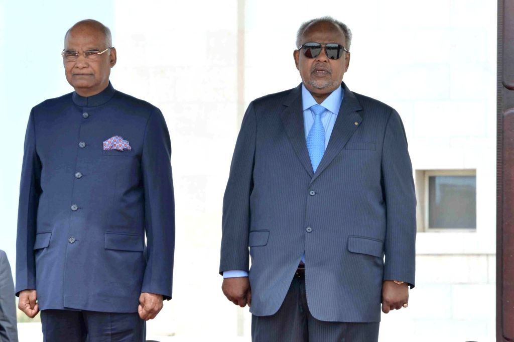President Ram Nath Kovind along with Djibouti President Ismaïl Omar Guelleh during a Ceremonial Welcome at Presidential Palace in Djibouti on Oct 4, 2017. - Nath Kovind