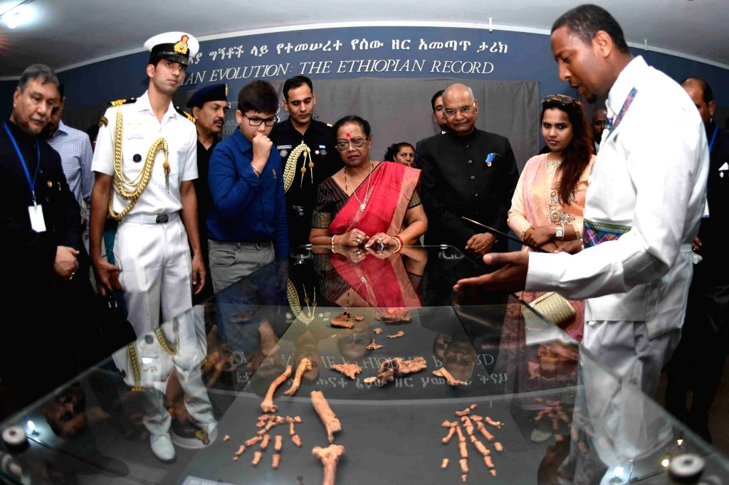 President Ram Nath Kovind along with his wife Savita Kovind during their visit to the National Museum of Ethiopia on Oct 5, 2017. - Nath Kovind