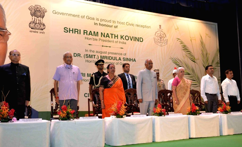 President Ram Nath Kovind along with his wife Savita Kovind, Goa Governor Mridula Sinha and Chief Minister Manohar Parrikar at the Civic Reception hosted for him by the state government, in Goa ... - Manohar Parrikar, Nath Kovind and Mridula Sinha