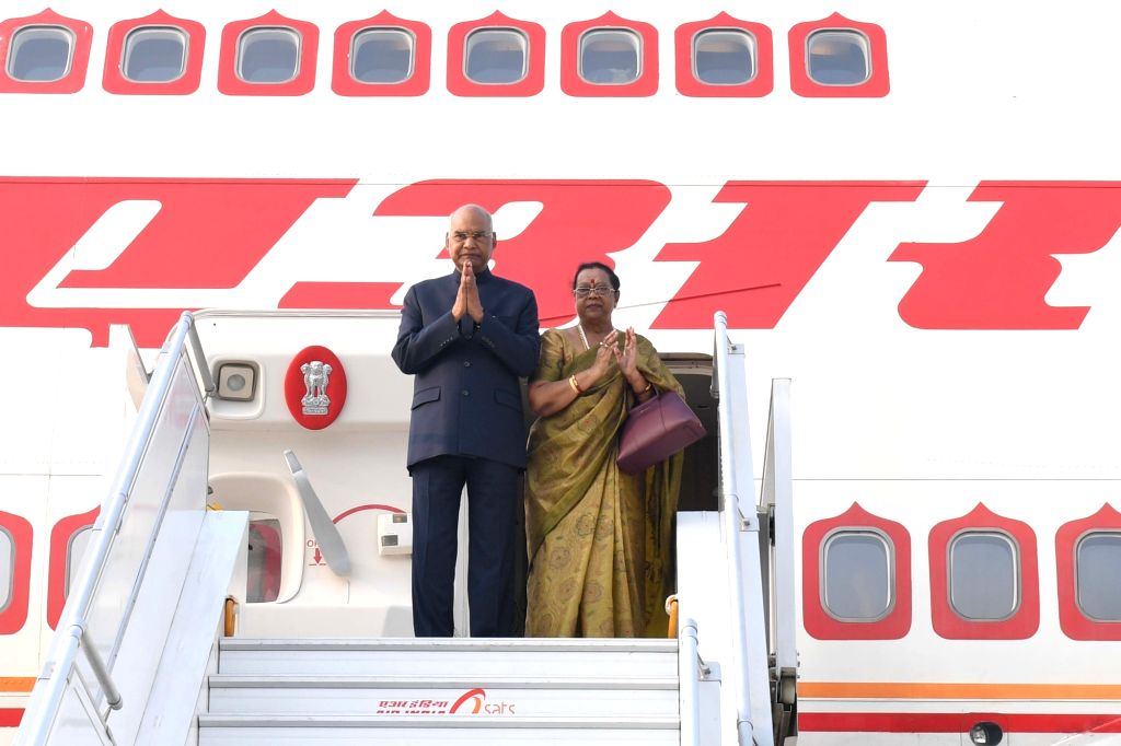 President Ram Nath Kovind along with his wife Savita Kovind, departs for his state visit to Philippines, from New Delhi on Oct 17, 2019. - Nath Kovind