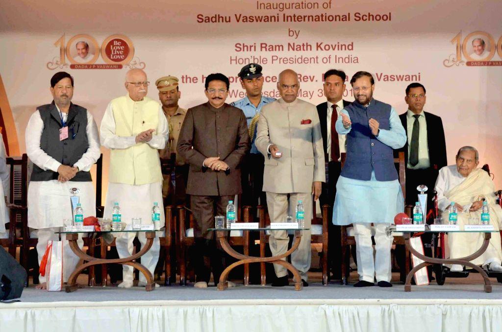 President Ram Nath Kovind along with Maharashtra Governor C. Vidyasagar Rao, Union Minister Prakash Javadekar and BJP leader L.K. Advani, inaugurates the Sadhu Vaswani International School, in ... - Prakash Javadekar, Nath Kovind, C. Vidyasagar Rao and K. Advani