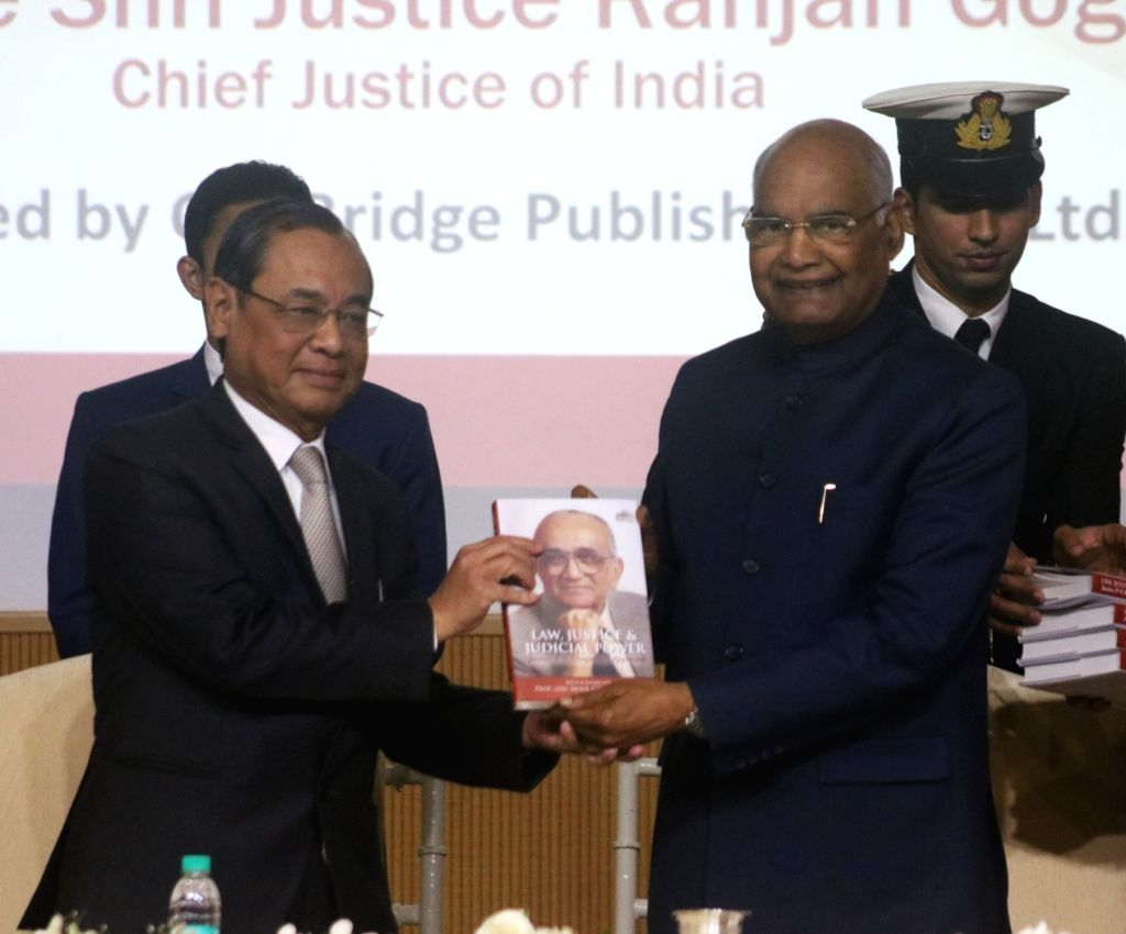 "President Ram Nath Kovind and Chief Justice of India Ranjan Gogoi at the launch of the book ""Law, Justice and Judicial Power: Justice P.N. Bhagwati's Approach"" in New Delhi, on ... - Nath Kovind"