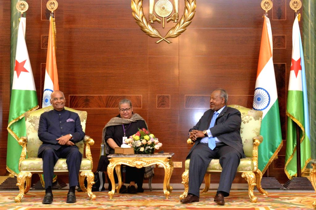 President Ram Nath Kovind and Djibouti President Ismail Omar Guelleh during delegation level talks at Presidential Palace in Djibouti on Oct 4, 2017. - Nath Kovind