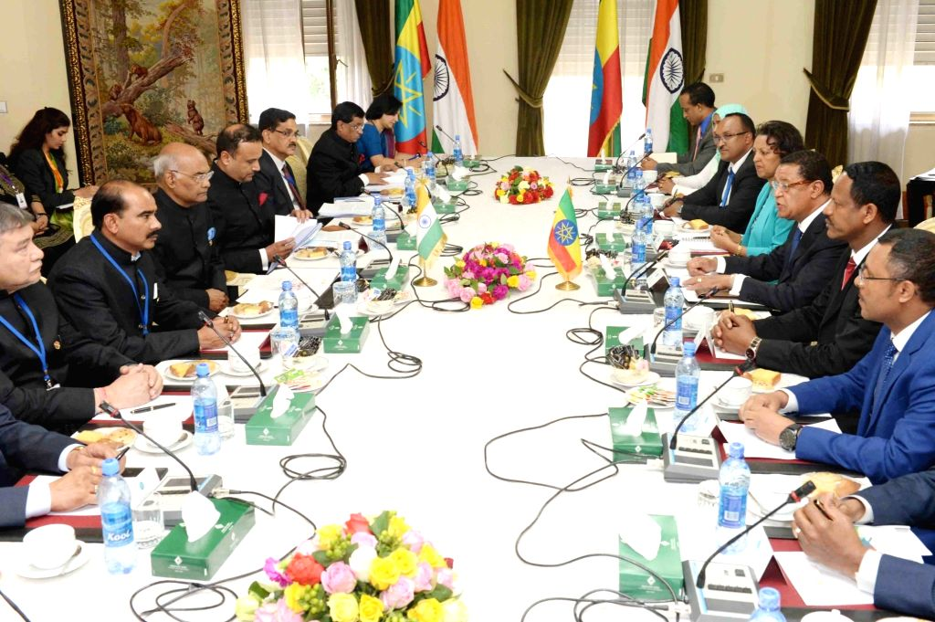President Ram Nath Kovind and Ethiopian President Mulatu Teshome during the delegation level talks at Presidential Palace in Ethiopia on Oct 5, 2017. - Nath Kovind