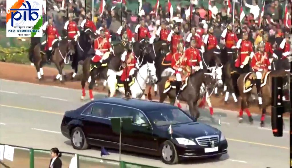 President Ram Nath Kovind and Guest of Honour Brazilian President Jair Bolsonaro flanked by President's Bodyguards, arrive at Rajpath for the 71st Republic Day parade, in New Delhi on Jan ... - Nath Kovind