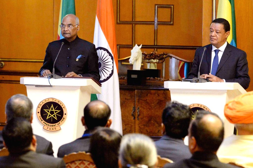 President Ram Nath Kovind and his Ethiopian counterpart Dr. Mulatu Teshome during a joint press statement at Presidential Palace in Addis Ababa, Ethiopia on Oct 5, 2017. - Nath Kovind