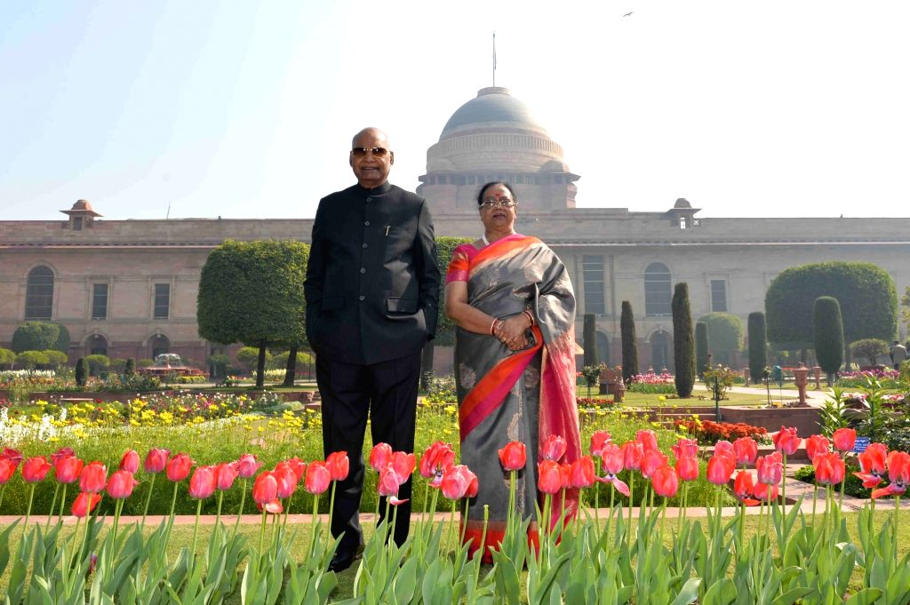 President Ram Nath Kovind and his wife Savita Kovind at Rashtrapati Bhavan's Mughal Gardens that will be thrown open to the general public from February 6 to March 10, in New Delhi on Feb ... - Nath Kovind