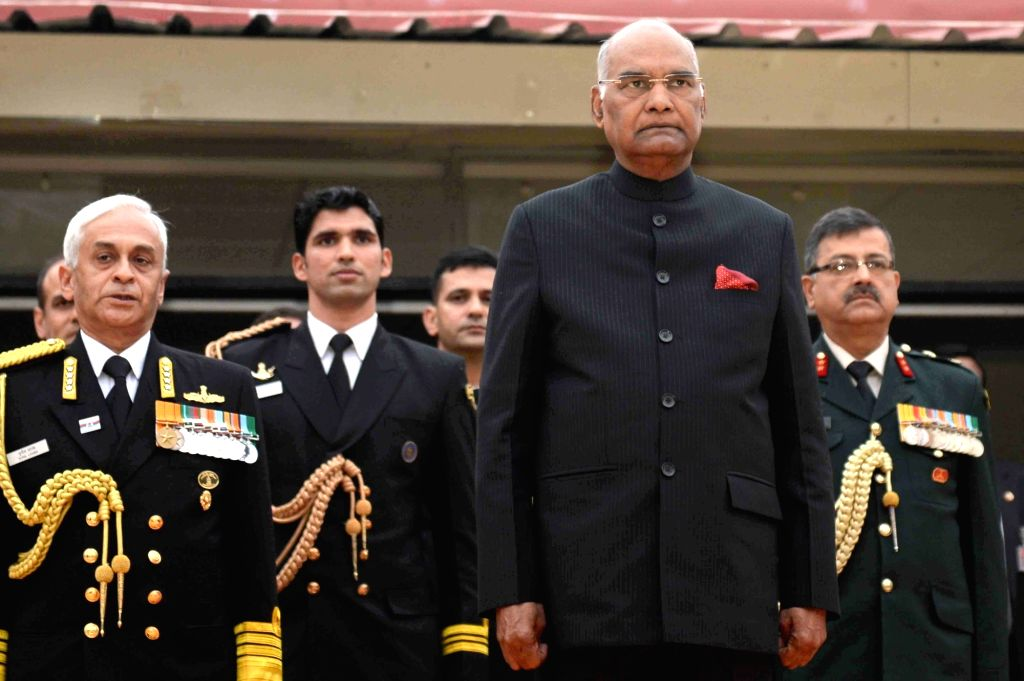 President Ram Nath Kovind and Navy chief Admiral Sunil Lanba during a reception on 46th Navy Day at Navy House in New Delhi on Dec 4, 2017. - Nath Kovind