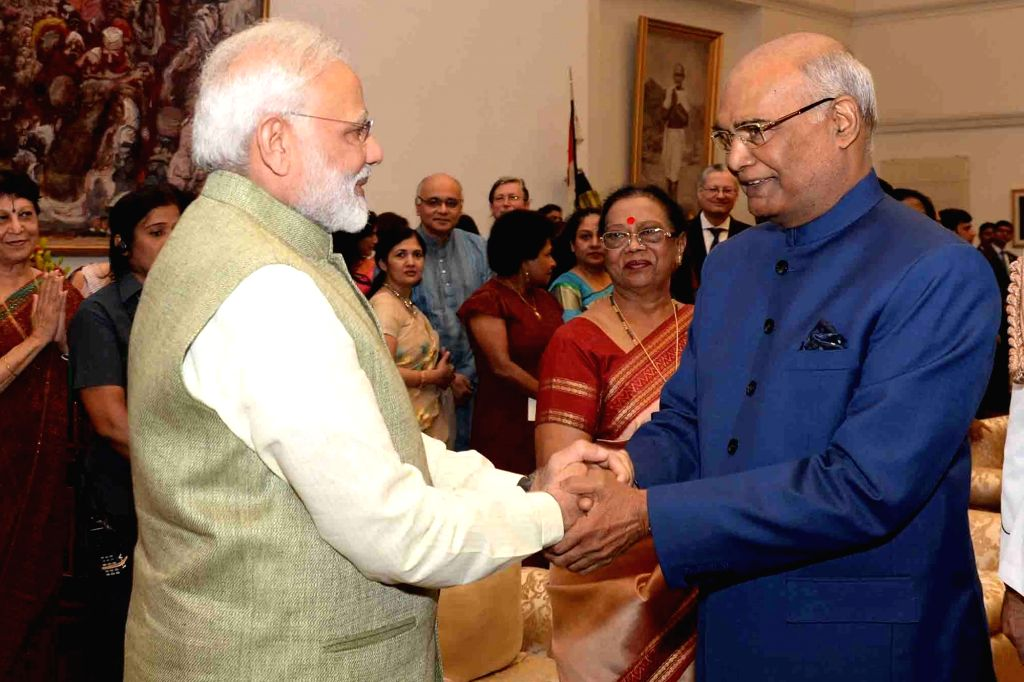 President Ram Nath Kovind and Prime Minister Narendra Modi at the 'At Home' function organised on the occasion of 71st Independence Day at Rashtrapati Bhavan in New Delhi on Aug 15, 2017. - Narendra Modi and Nath Kovind