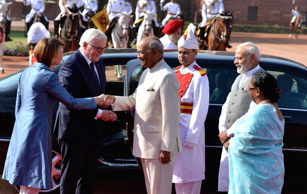 President Ram Nath Kovind and Prime Minister Narendra Modi receive German President Frank-Walter Steinmeier and his wife Elke Büdenbender during a Ceremonial Reception at Rashtrapati ... - Narendra Modi and Nath Kovind