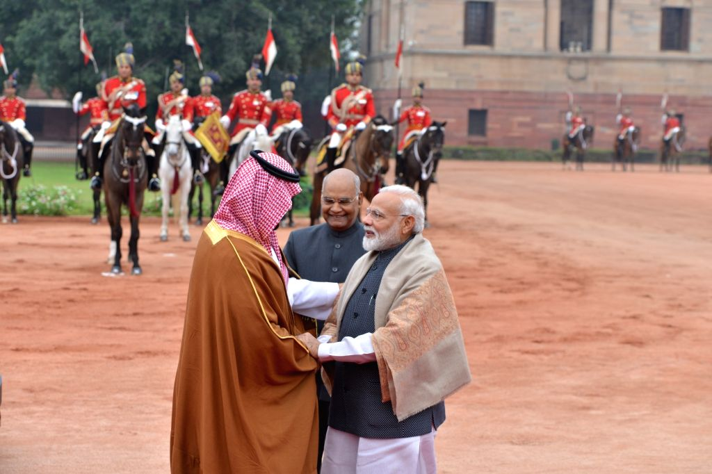President Ram Nath Kovind and Prime Minister Narendra Modi greet Saudi Crown Prince Mohammed bin Salman during a ceremonial reception organised for him at Rashtrapati Bhawan in New Delhi, ... - Narendra Modi and Nath Kovind