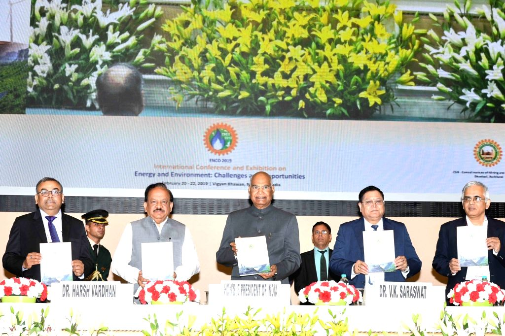 President Ram Nath Kovind and Union Earth Sciences and Environment, Forest and Climate Change Minister Harsh Vardhan launches the souvenir of the International Conference and Exhibition on ... - Harsh Vardhan and Nath Kovind
