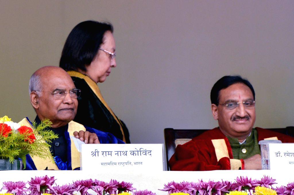 President Ram Nath Kovind and Union HRD Minister Ramesh Pokhriyal Nishank at the Annual Convocation of Jamia Millia Islamia (JMI) in New Delhi on Oct 30, 2019. - Ramesh Pokhriyal Nishank and Nath Kovind