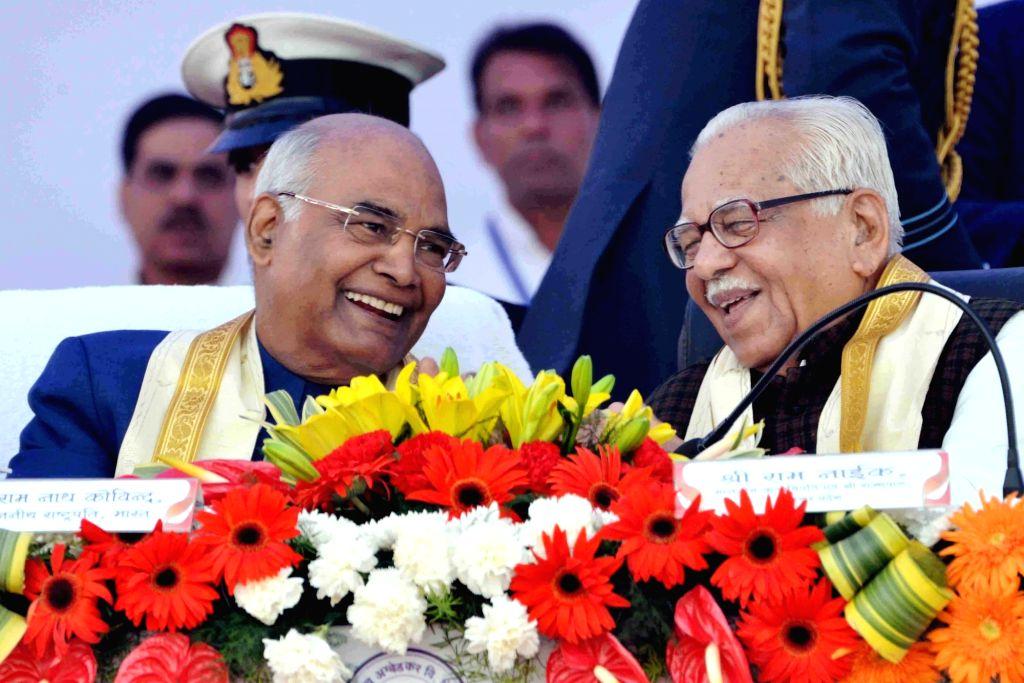 President Ram Nath Kovind and Uttar Pradesh Governor Ram Naik during the 83rd Convocation of Dr. Bhimrao Ambedkar University in Agra on Dec 5, 2017. - Nath Kovind