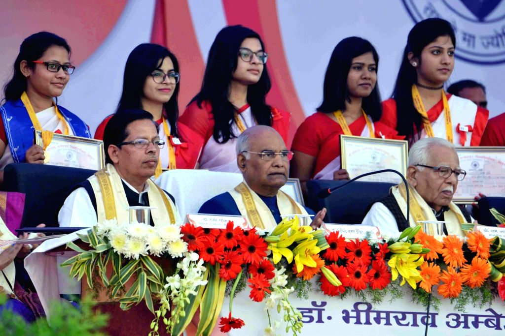 President Ram Nath Kovind and Uttar Pradesh Governor Ram Naik during the 83rd Convocation of Dr. Bhimrao Ambedkar University in Agra on Dec 5, 2017. - Nath Kovind