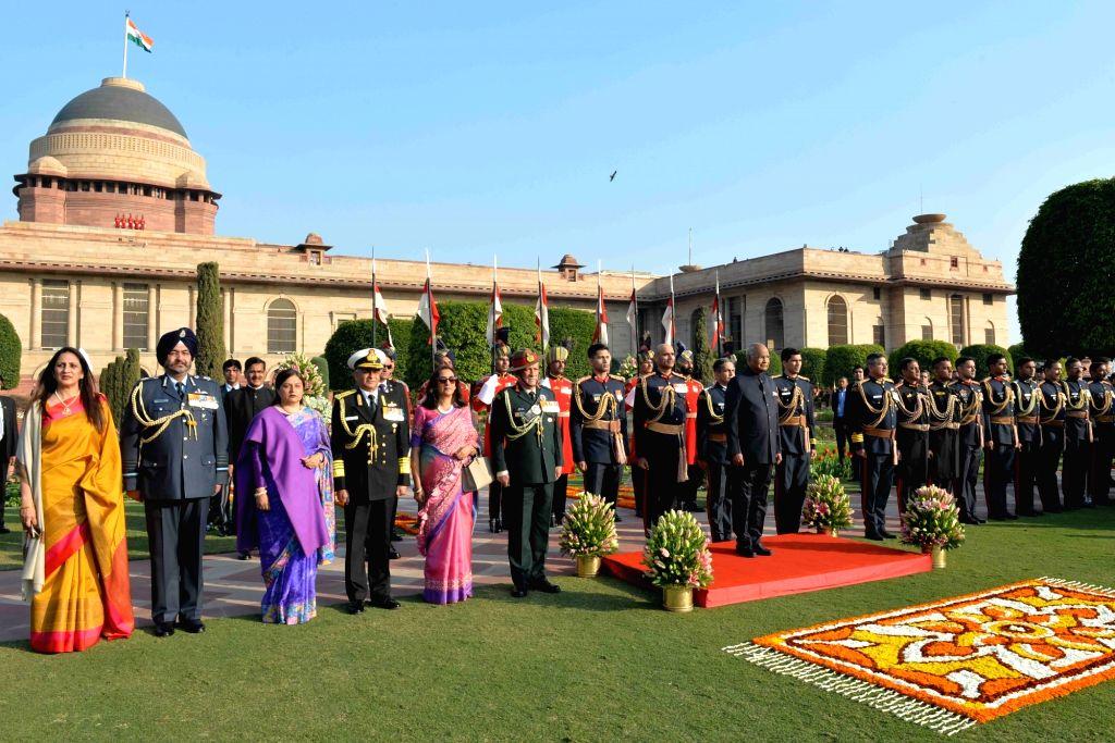 President Ram Nath Kovind, Army Chief General Bipin Rawat, Navy Chief Admiral Sunil Lanba and Air Chief Marshal B.S. Dhanoa during 'At Home' reception organised at at Rashtrapati ... - Nath Kovind